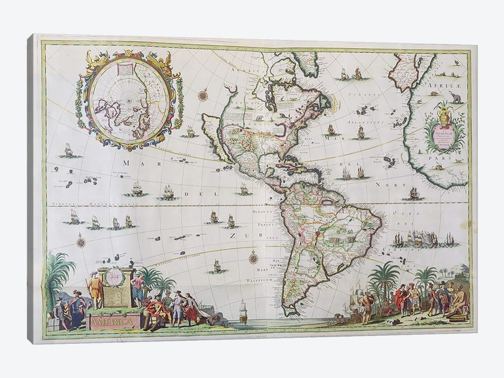 America, plate 84, from 'Atlas Minor Sive Geographica Compendiosa', 1680  by Nicolaes Visscher II 1-piece Canvas Artwork