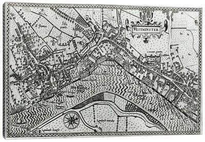 Map of Westminster from 'Speculum Britannia', 1593  Canvas Art Print
