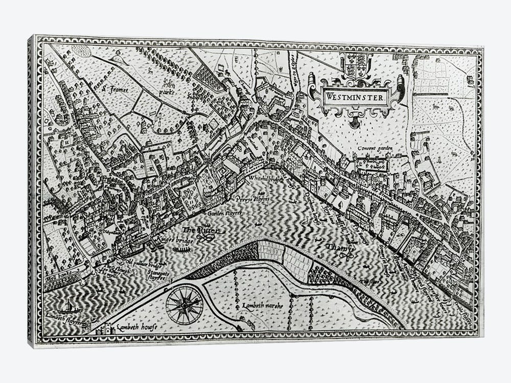 Map of Westminster from 'Speculum Britannia', 1593  by John Norden 1-piece Canvas Art Print