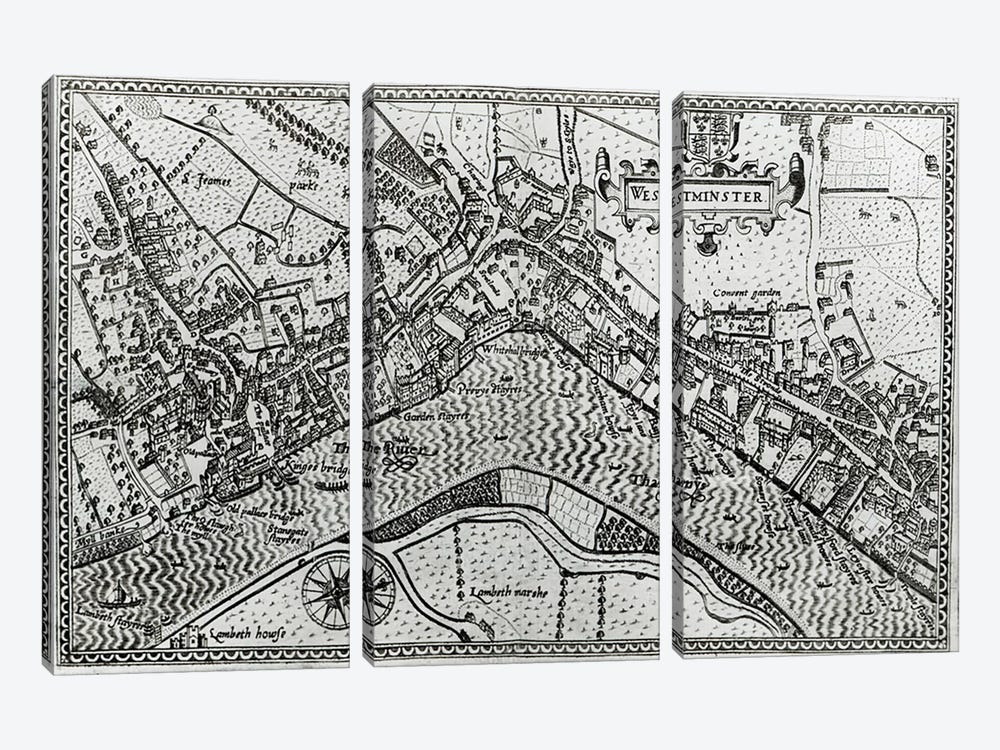 Map of Westminster from 'Speculum Britannia', 1593  by John Norden 3-piece Canvas Art Print