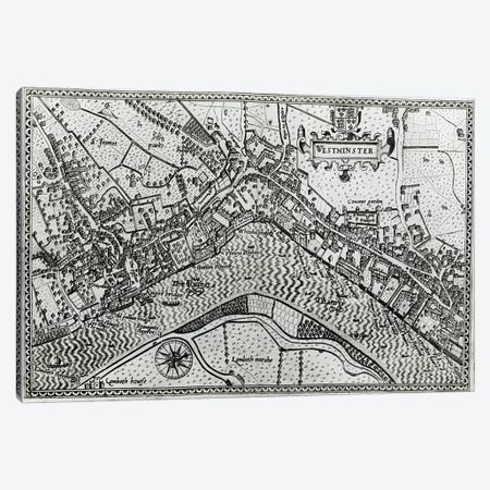 Map of Westminster from 'Speculum Britannia', 1593  Canvas Print #BMN3062} by John Norden Canvas Print