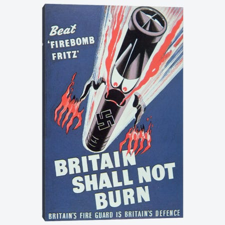 'Britain Shall not Burn', 1940  Canvas Print #BMN3063} by English School Canvas Print