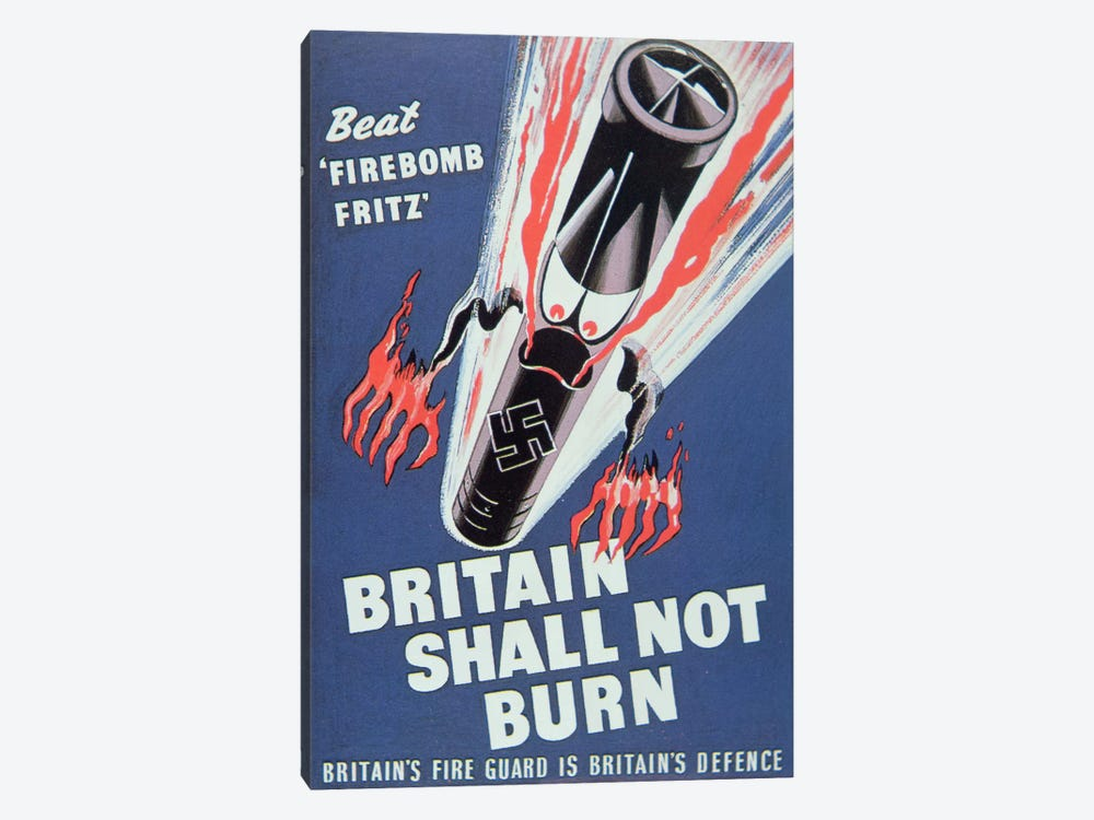 'Britain Shall not Burn', 1940 by English School 1-piece Canvas Wall Art