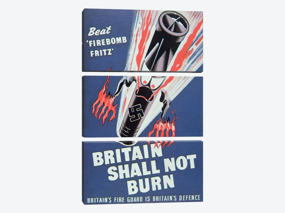 'Britain Shall not Burn', 1940 by English School 3-piece Canvas Art