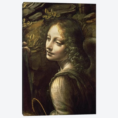 Detail of the Angel, from The Virgin of the Rocks  Canvas Print #BMN3065} by Leonardo da Vinci Canvas Artwork