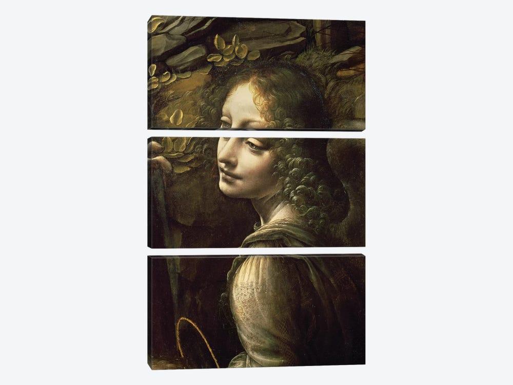 Detail of the Angel, from The Virgin of the Rocks  by Leonardo da Vinci 3-piece Canvas Art