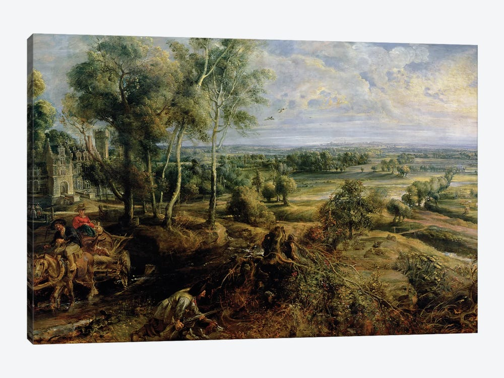 An Autumn Landscape with a view of Het Steen in the Early Morning, c.1636  by Peter Paul Rubens 1-piece Art Print