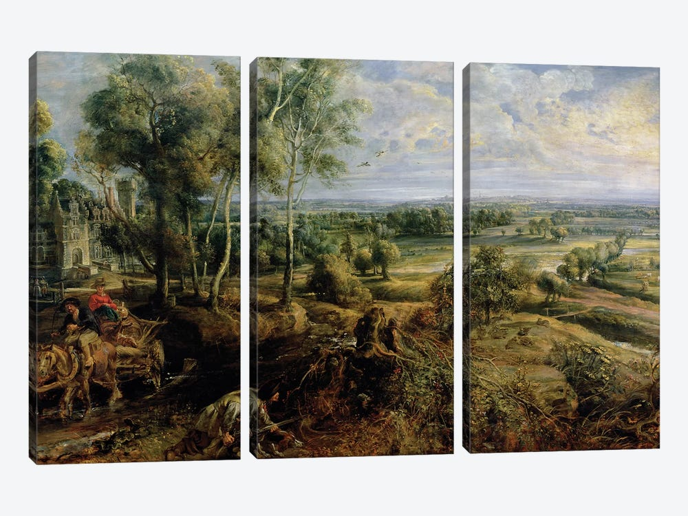 An Autumn Landscape with a view of Het Steen in the Early Morning, c.1636  by Peter Paul Rubens 3-piece Art Print