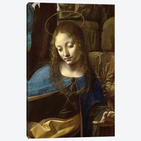 Detail of the Head of the Virgin, from The Virgin of the Rocks  Canvas Print #BMN3067} by Leonardo da Vinci Canvas Art