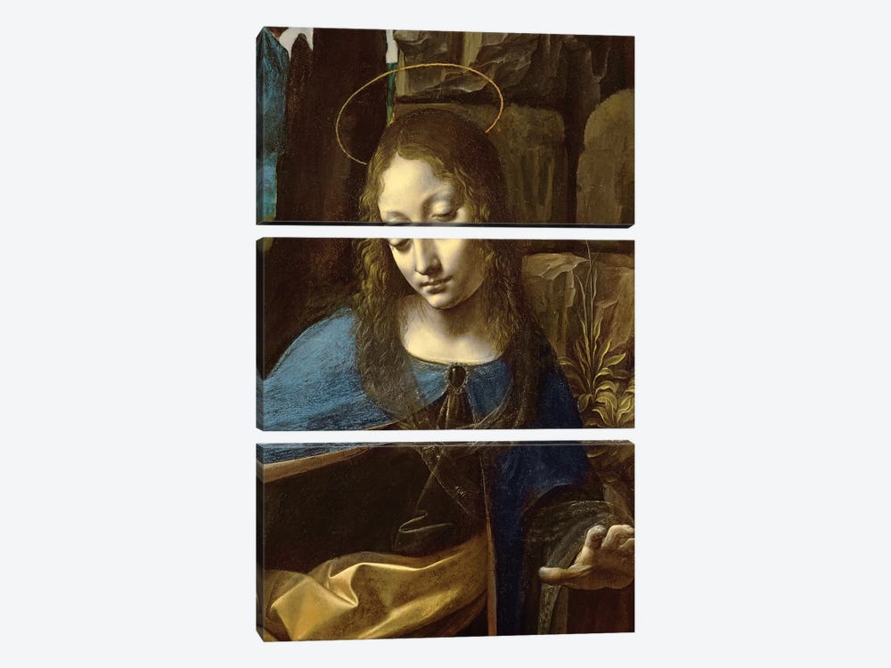 Detail of the Head of the Virgin, from The Virgin of the Rocks  by Leonardo da Vinci 3-piece Canvas Artwork
