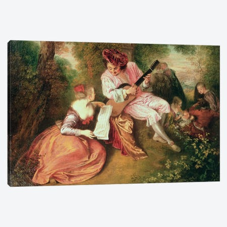 The Scale of Love, 1715-18  Canvas Print #BMN3068} by Jean Antoine Watteau Canvas Print