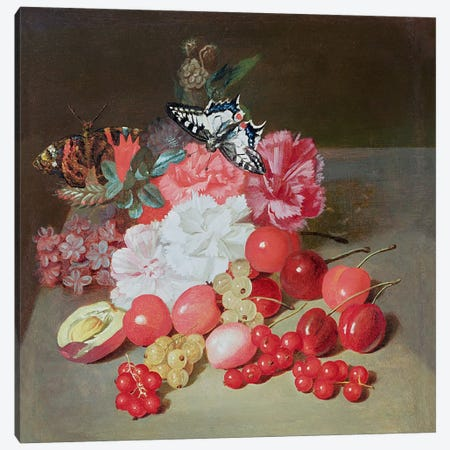 Still Life with Butterflies  Canvas Print #BMN306} by Louis Leopold Boilly Canvas Artwork