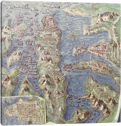 Siege of Malta, detail from the 'Galleria delle Carte Geografiche', 1580-83 Canvas Art Print