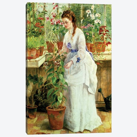 Young Lady in a Conservatory Canvas Print #BMN307} by Jane Maria Bowkett Canvas Art