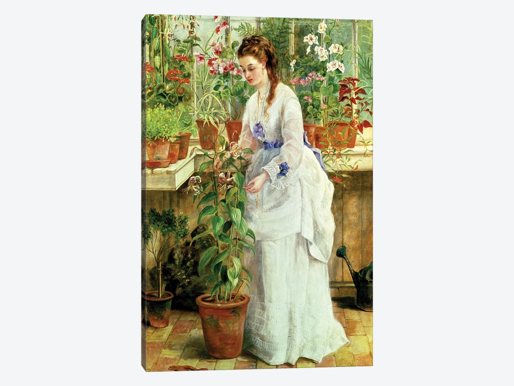 Young Lady in a Conservatory by Jane Maria Bowkett 1-piece Canvas Art