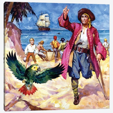 Long John Silver and his Parrot  Canvas Print #BMN3082} by James Edwin McConnell Canvas Art Print
