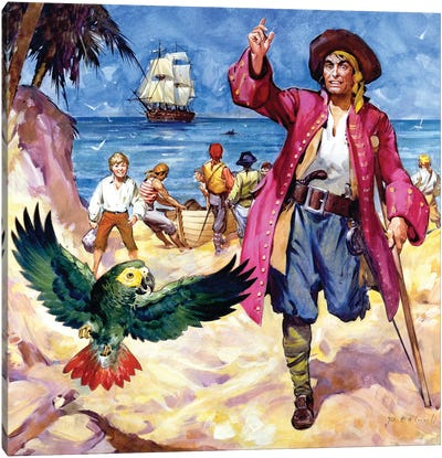 Long John Silver and his Parrot  Canvas Art Print