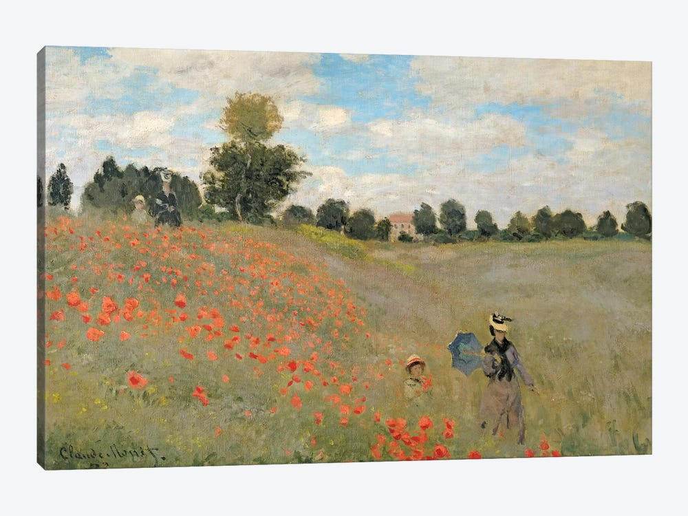 Wild Poppies, Near Argenteuil, 1873 by Claude Monet 1-piece Canvas Print