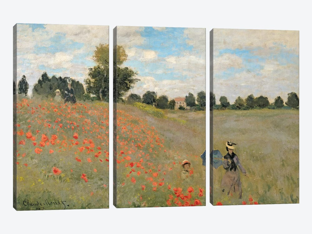 Wild Poppies, Near Argenteuil, 1873 by Claude Monet 3-piece Art Print
