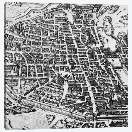 Map of Paris, 1620  Canvas Print #BMN3090} by German School Canvas Artwork