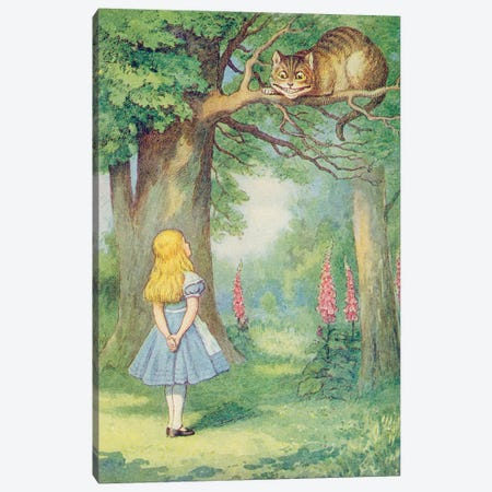 Alice and the Cheshire Cat, illustration from 'Alice in Wonderland' by Lewis Carroll  Canvas Print #BMN3094} by John Tenniel Canvas Art Print