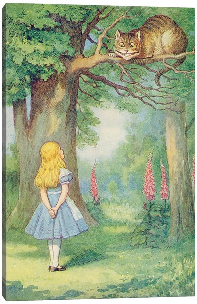 Alice and the Cheshire Cat, illustration from 'Alice in Wonderland' by Lewis Carroll  Canvas Art Print