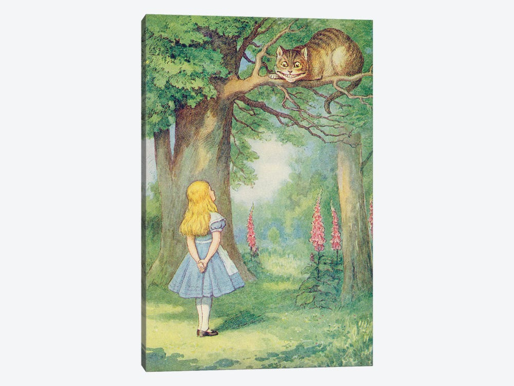 Alice and the Cheshire Cat, illustration from 'Alice in Wonderland' by Lewis Carroll  by John Tenniel 1-piece Canvas Artwork