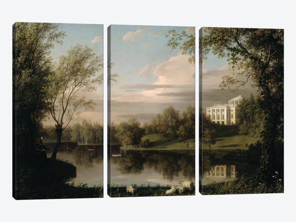 View of the Pavlovsk Palace, c.1800  by Carl Ferdinand von Kugelgen 3-piece Canvas Art Print