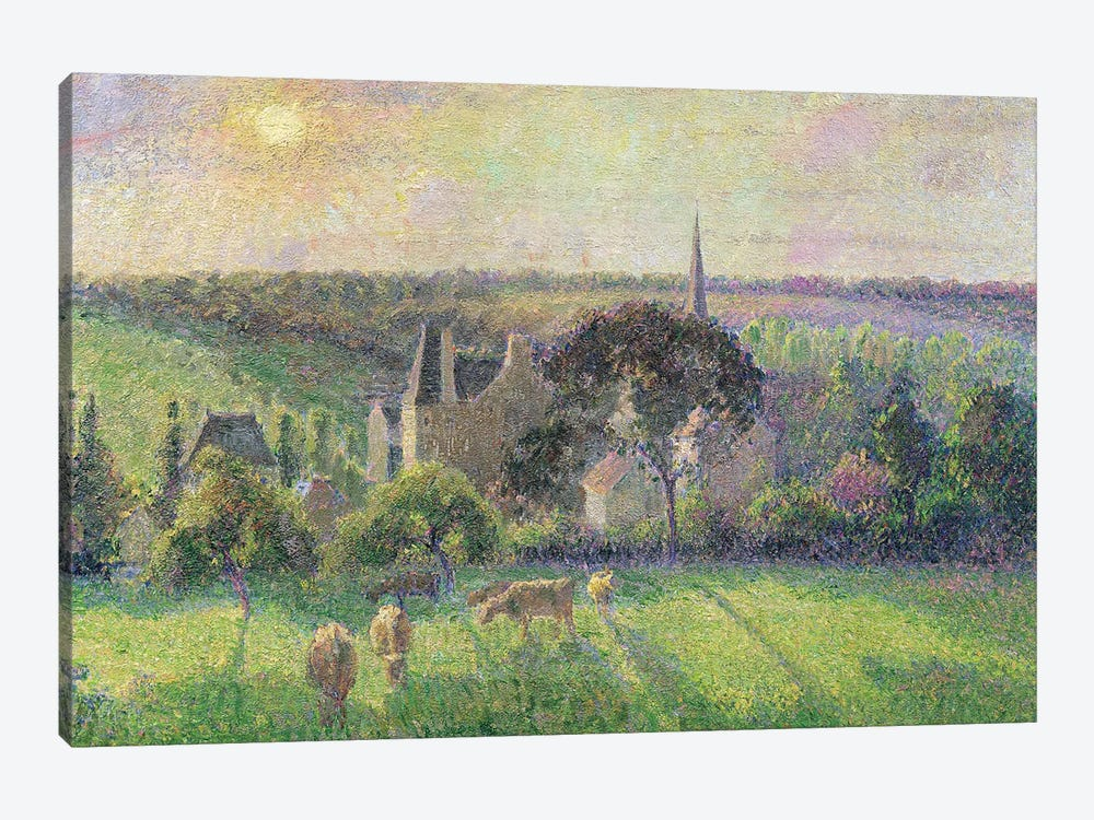 The Church and Farm of Eragny, 1895  by Camille Pissarro 1-piece Canvas Artwork