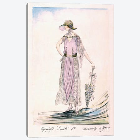 A day dress, 1923 (colour litho) Canvas Print #BMN30} by Unknown Artist Canvas Art Print