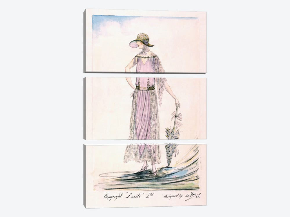 A day dress, 1923 (colour litho) by Unknown Artist 3-piece Canvas Art Print