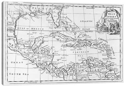 Map of the West Indies, Florida and South America  Canvas Art Print