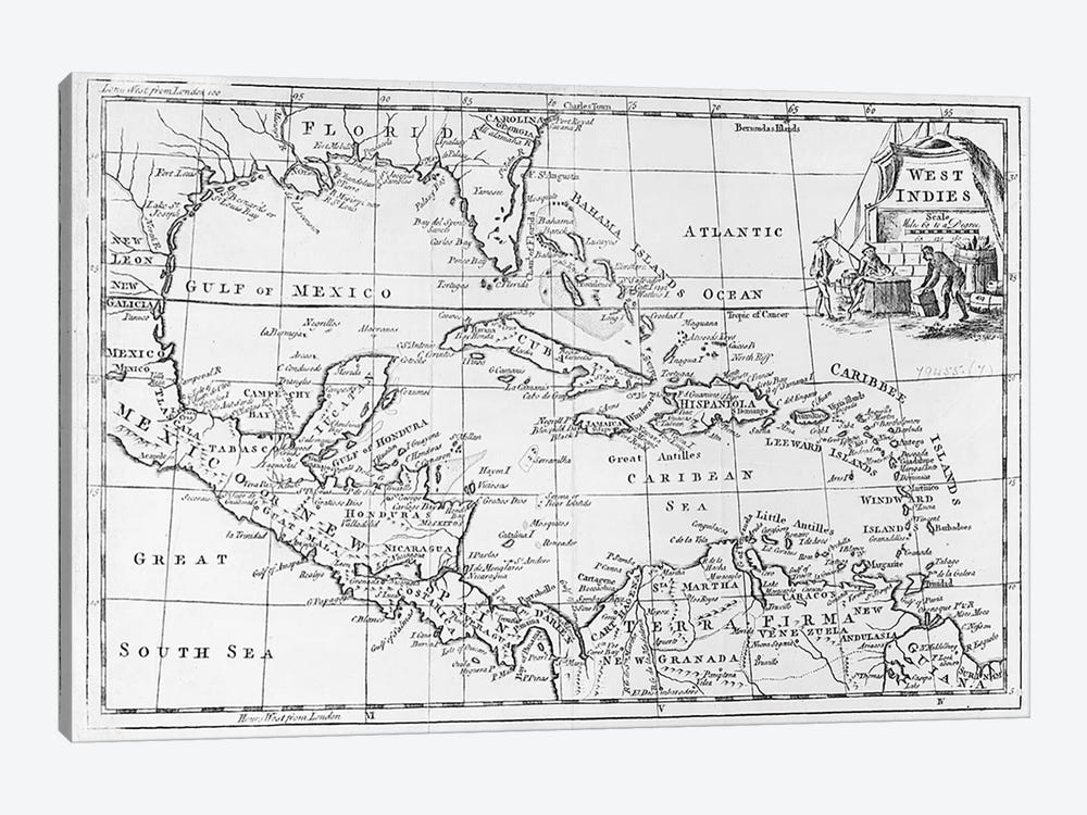 Map of the West Indies, Florida and South America by English School 1-piece Canvas Print
