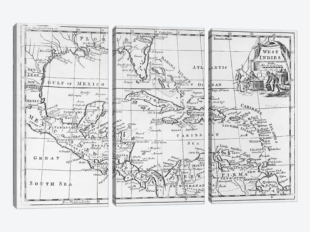 Map of the West Indies, Florida and South America by English School 3-piece Canvas Art Print