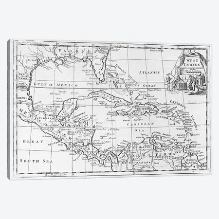 Map of the West Indies, Florida and South America  Canvas Print #BMN3101} by English School Canvas Artwork