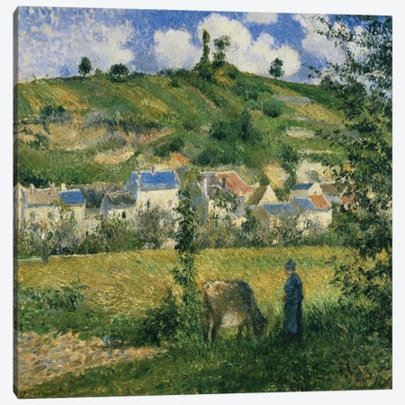 Landscape at Chaponval, 1880  Canvas Print #BMN310} by Camille Pissarro Canvas Artwork