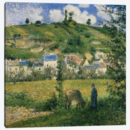 Landscape at Chaponval, 1880  3-Piece Canvas #BMN310} by Camille Pissarro Canvas Artwork
