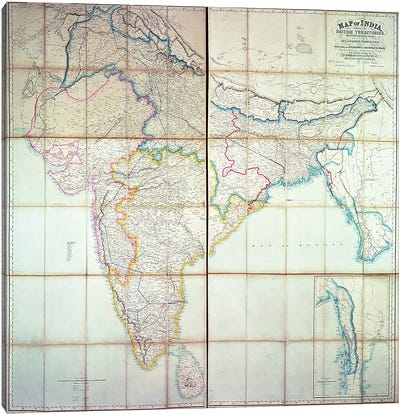 Map of India, 1857  Canvas Art Print