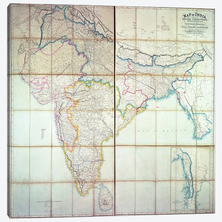 Map of India, 1857  Canvas Print #BMN3112} by English School Canvas Art Print