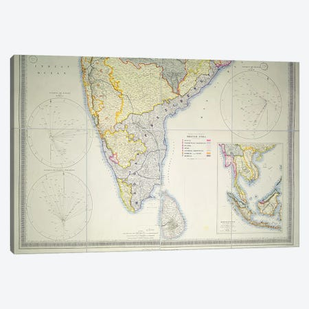 Map of British Southern India, 1872  Canvas Print #BMN3114} by English School Canvas Artwork