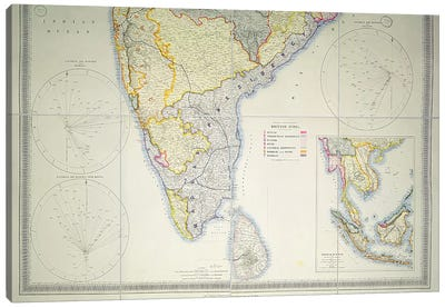 Map of British Southern India, 1872 Canvas Art Print
