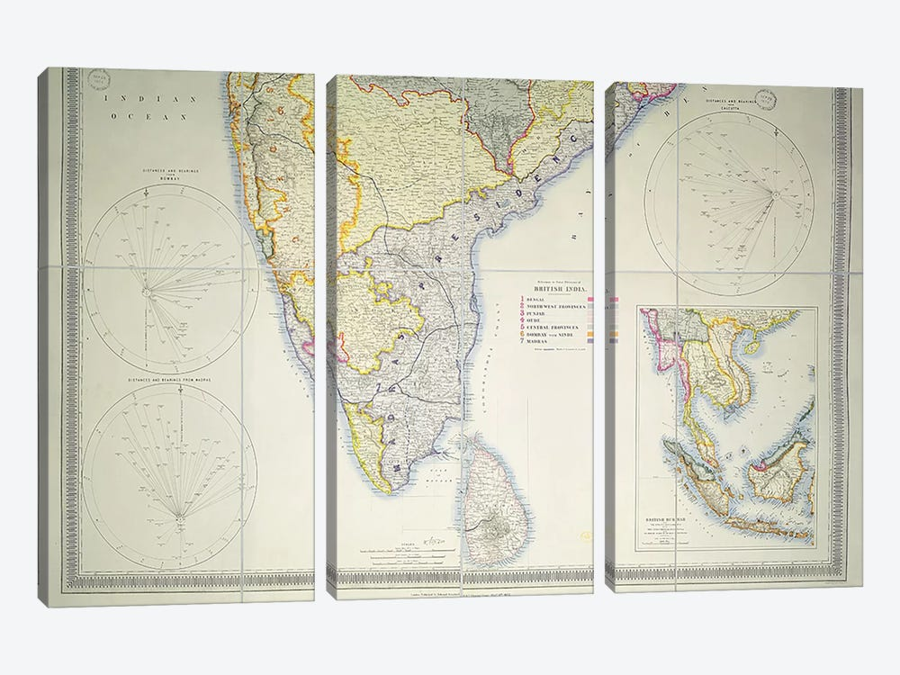 Map of British Southern India, 1872  3-piece Canvas Print