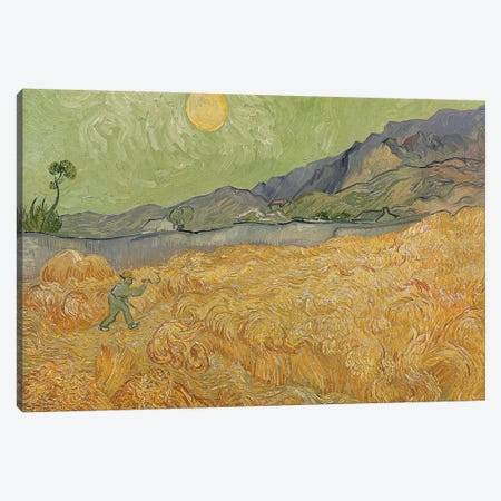 Wheatfield with Reaper, 1889  Canvas Print #BMN3116} by Vincent van Gogh Canvas Wall Art