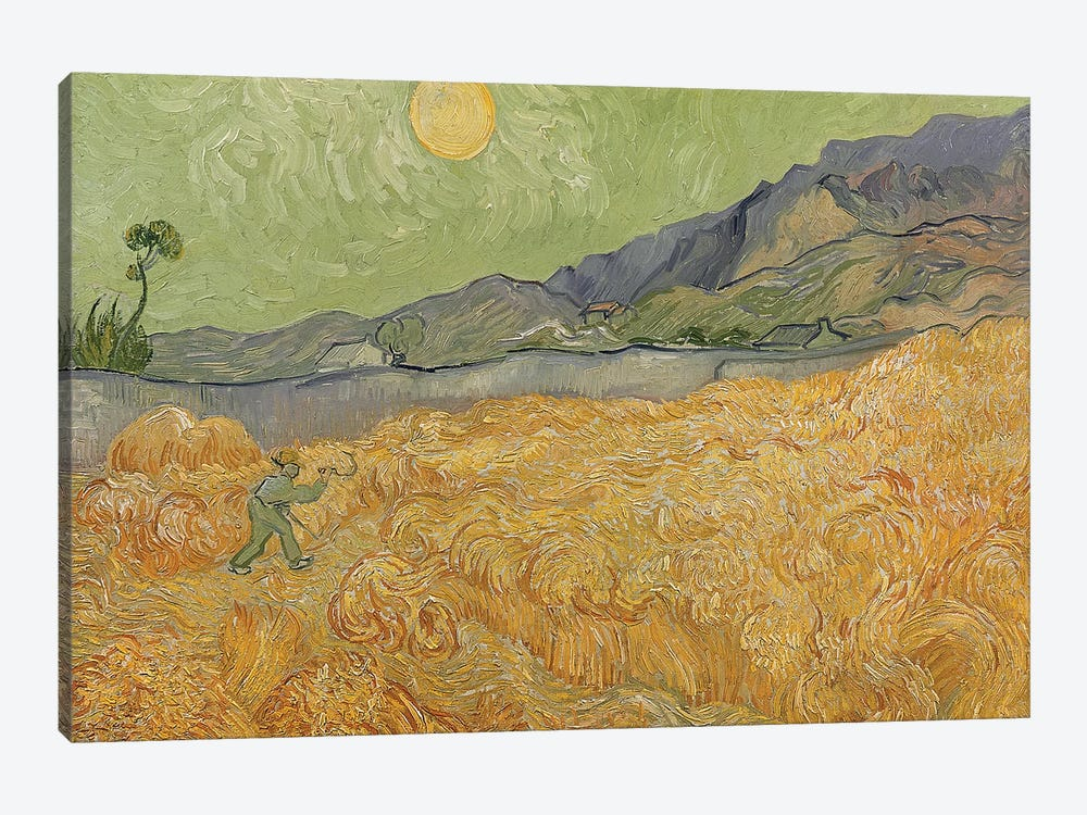 Wheatfield with Reaper, 1889  by Vincent van Gogh 1-piece Canvas Print