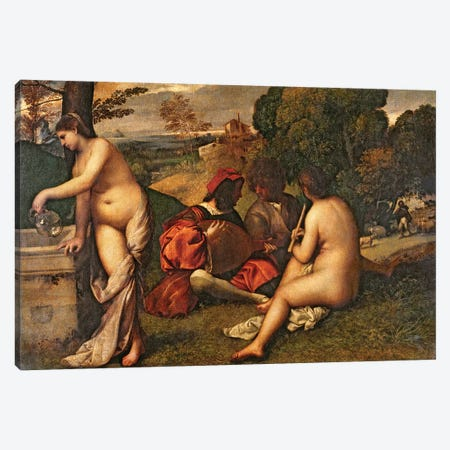 Le Concert Champetre  Canvas Print #BMN3117} by Titian Canvas Wall Art