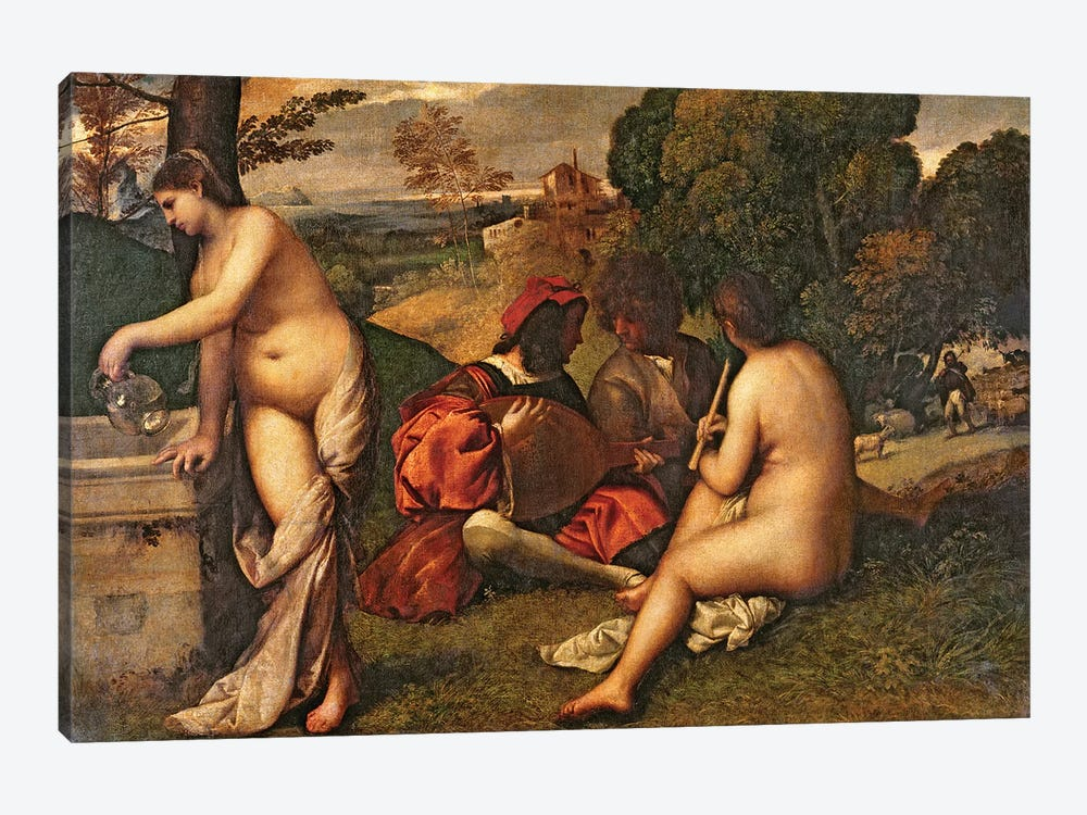 Le Concert Champetre  by Titian 1-piece Canvas Wall Art