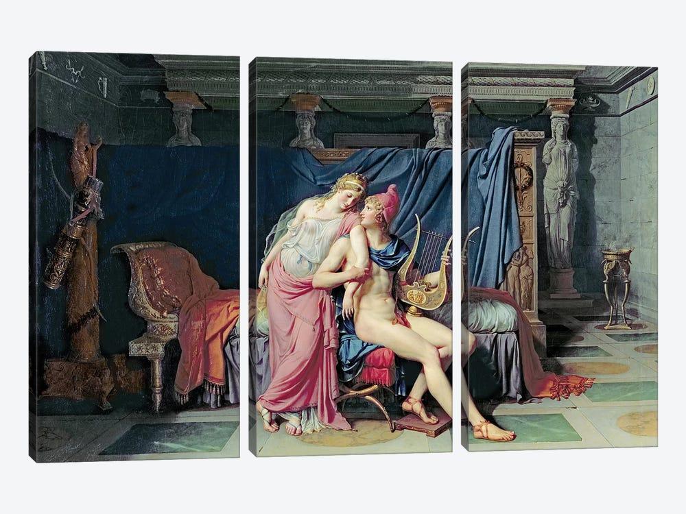 Paris and Helen  by Jacques-Louis David 3-piece Canvas Art Print