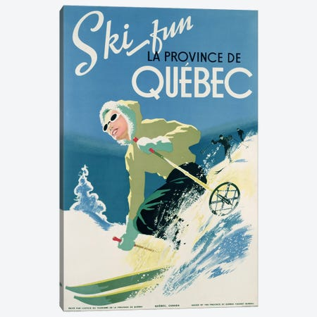 Poster advertising skiing holidays in the province of Quebec, c.1938  Canvas Print #BMN3119} by Canadian School Art Print