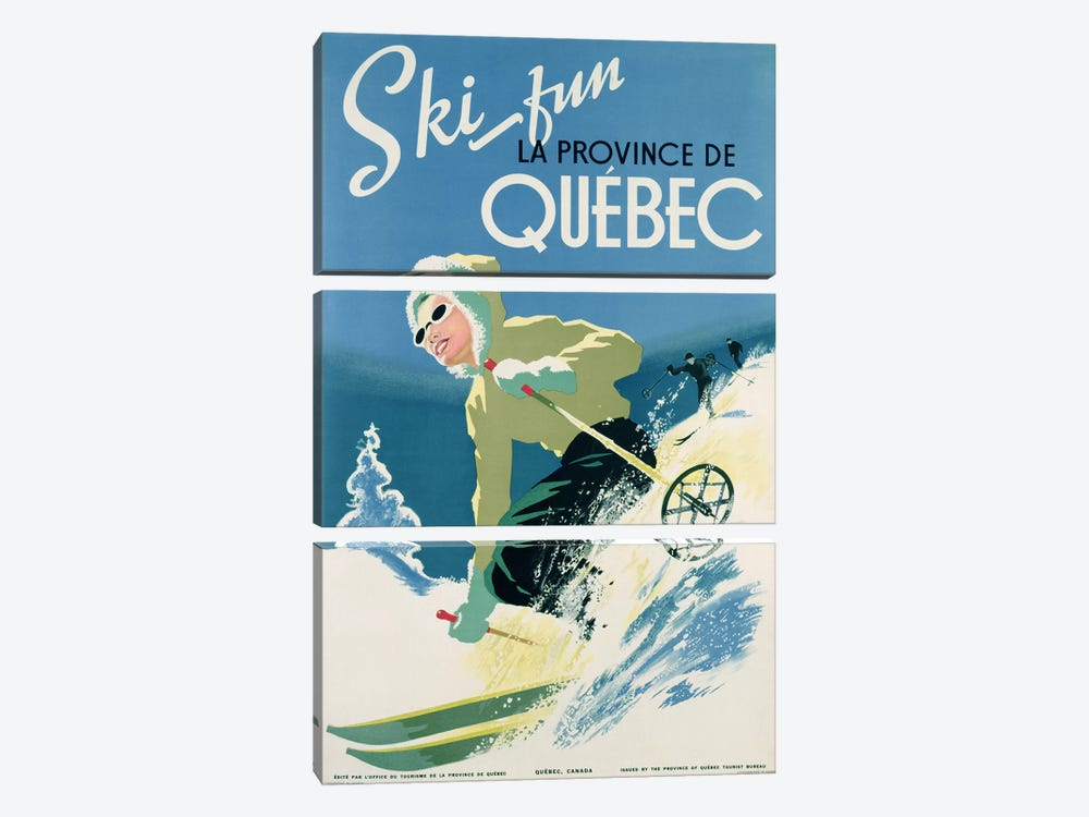 Poster advertising skiing holidays in the province of Quebec, c.1938 by Canadian School 3-piece Canvas Wall Art