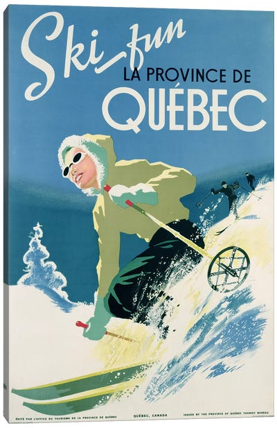 Poster advertising skiing holidays in the province of Quebec, c.1938  Canvas Art Print